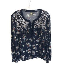 Anthropologie One September Floral Embroidered Top